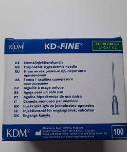 Aiguille KDM 21G1 1/2 BL 0,8x40mm Verte Courte