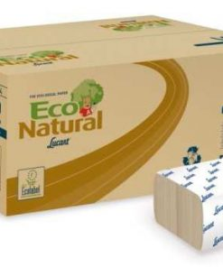 "CARTON DE 3800 ESSUIE-MAINS, ECO NATURAL, ""V2"", PLIAGE EN ""Z-Z"", 25 X 23 CM, 2 PLIS, RECYCLÉ, GAUFRÉ, NATUREL."